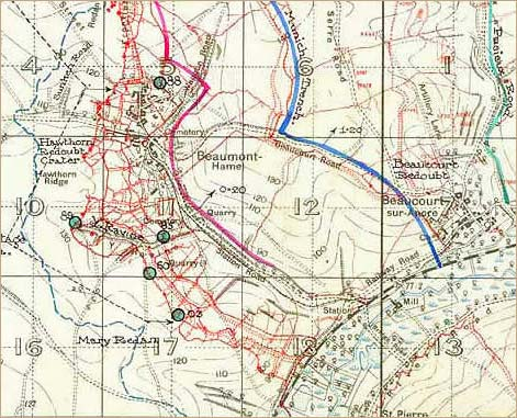 Trench map of the first day of the Battle of the Somme WO 158/327
