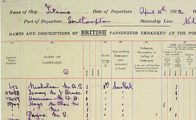 Section of an outward-bound passenger list for RMS Titanic, 1912 (catalogue reference: BT 27/780B/8)