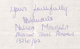 Nelson Mandela's signature (catalogue reference DO 119/1478)