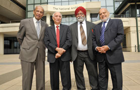 Reginald, Tilak Raj, Jaswant and Mohammed at The National Archives