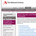 UK Government Web Archive 2012 collection website