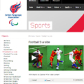 British Paralympic Association Football 5-a-side website