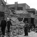 Second World War damage to buildings at Wimbledon Station from flying bomb attack, 16 July 1944. AIR 20/4376