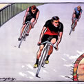 Racing cyclists, artist M Dorothy Hardy, 1904. COPY 1/218 (435)