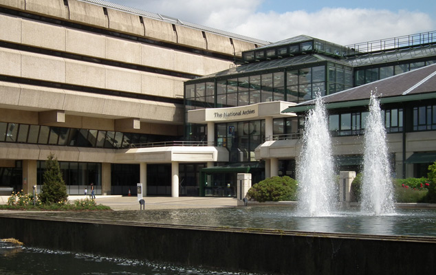 A view across the fountain at The National Archives