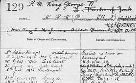 Detail from King George VI's service record (catalogue reference ADM 196/118)