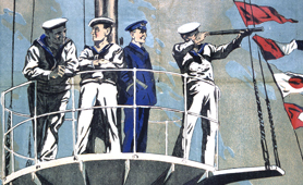 Section of recruitment poster for Royal Naval Volunteer Reserve (Catalogue reference: ADM 1/8331)
