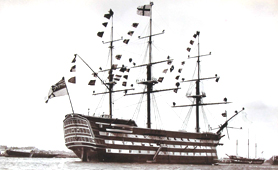 Illustration of HMS Victory flying Nelson's signal (Catalogue reference: COPY 1/490)