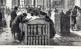Engraving of registry of wills, Somerset House (Catalogue reference: ZPER 34/66/96)