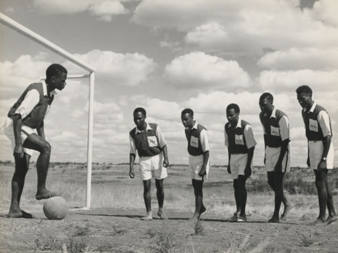 East African Railways and Harbours, Railway Training School. Recreation and welfare: soccer (1950s) - Catalogue reference: CO 1069/130