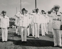 Crew of HMS Opossum, Cambodia, 1955. Catalogue reference: CO 1069/420
