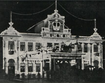 The Penang Buddhist Association by night, Malaya, 1937. Catalogue reference: CO 1069-502-057