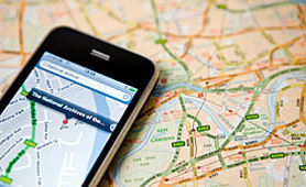Image of a map and mobile phone