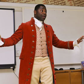 Costumed interpreter as abolitionist Olaudah Equiano