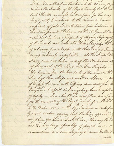 Nelson's despatch about the evacuation of the royal family from Naples. 28 December 1798. Cat ref: ADM 1/399 (N7). Crown copyright.