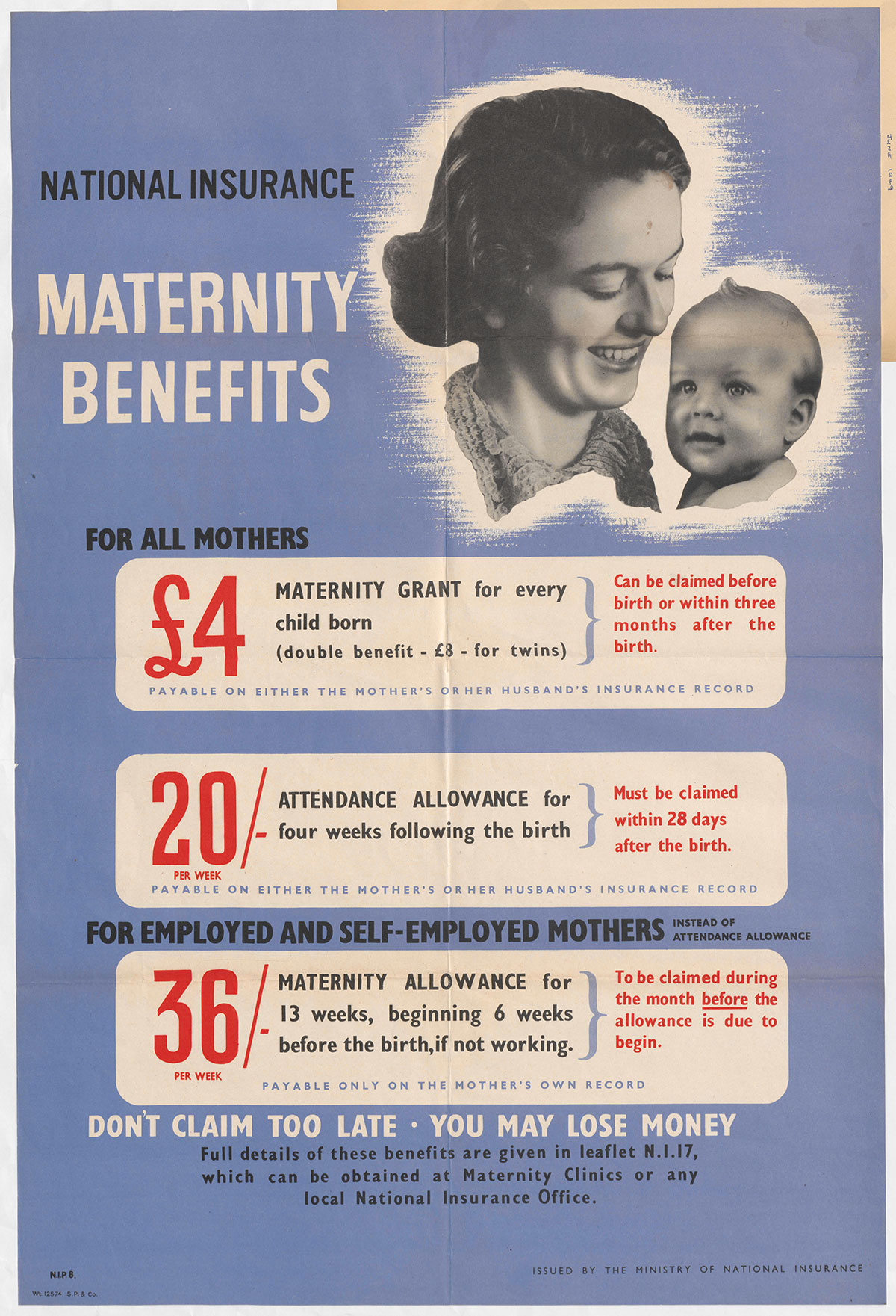 A poster to advertise National Insurance maternity benefits, 1946 (INF 2/66, page 29)
