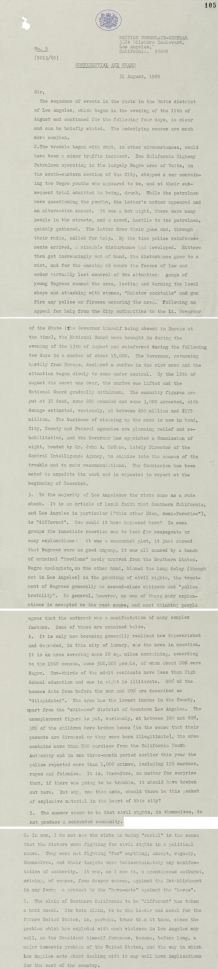 Letter from British Consul in Los Angeles to Sir Patrick Dean, British Ambassador in Washington describing the course of the LA riots, 31st August 1965 (FO 371/179611)