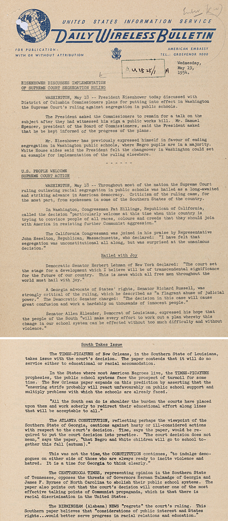 Daily Bulletin from US Embassy in London, 19 May 1954 (FO 371/109162)