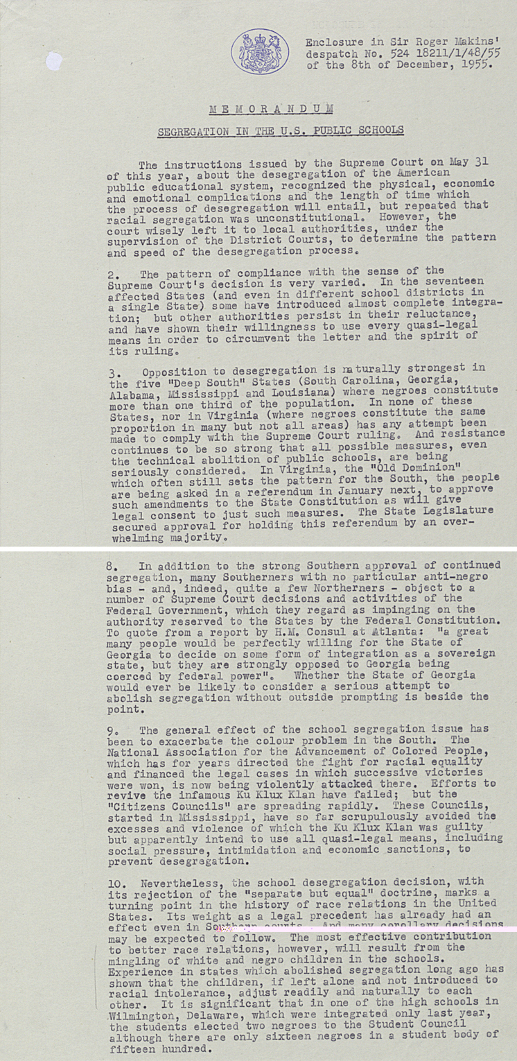 Memo from British Ambassador on segregation in US public schools, 8 December 1955 (FO 371/114445)