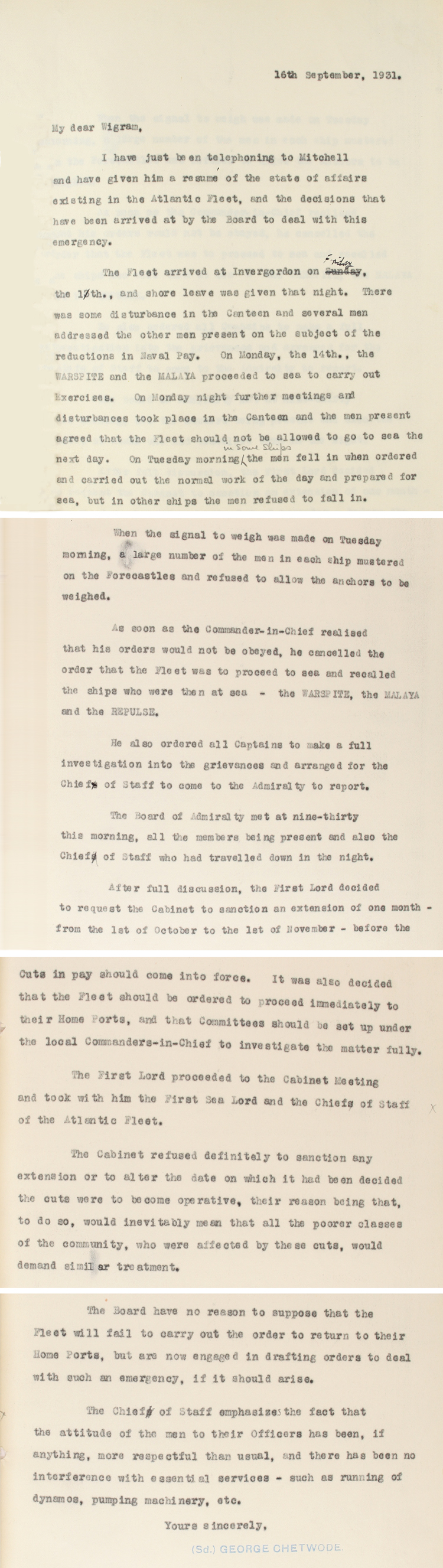 Extracts from a letter to Sir Clive Wigram, Private Secretary to the King from Sir George Chetwode, the Naval Secretary, 16th September 1931 (ADM 178/129)