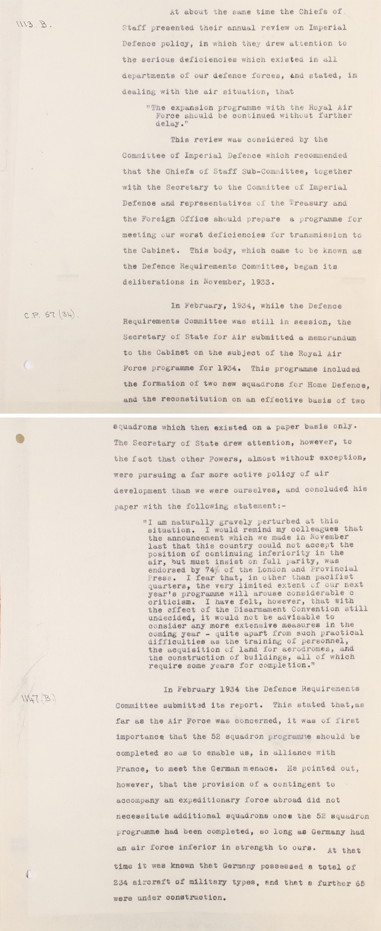 Extract from a review dated 1935 covering defence policy, 1923-1935 (AIR 20/32)