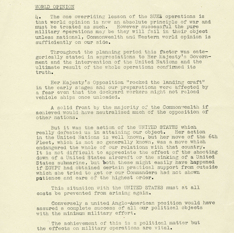 Extract from a report dated 11th Oct 1957 by General Charles Keightley on Suez operations in the Eastern Mediterranean, November-December 1956 (AIR 8/1940)