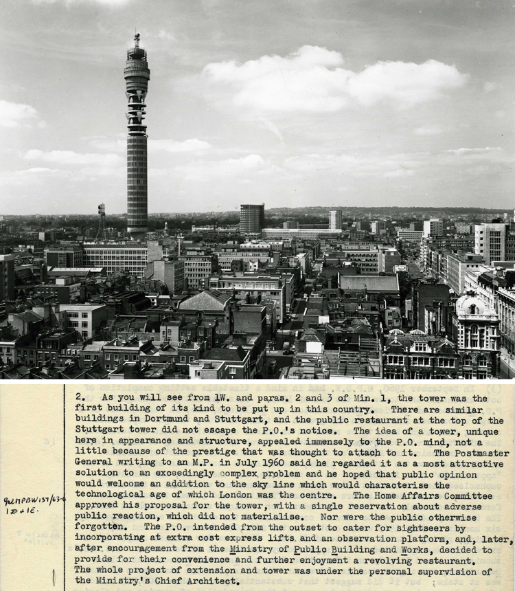 Extract from a report on the building of the Post Office Tower, 1965 (AO 27/44) with a photograph of the London skyline showing the completed tower (CM 22/195)