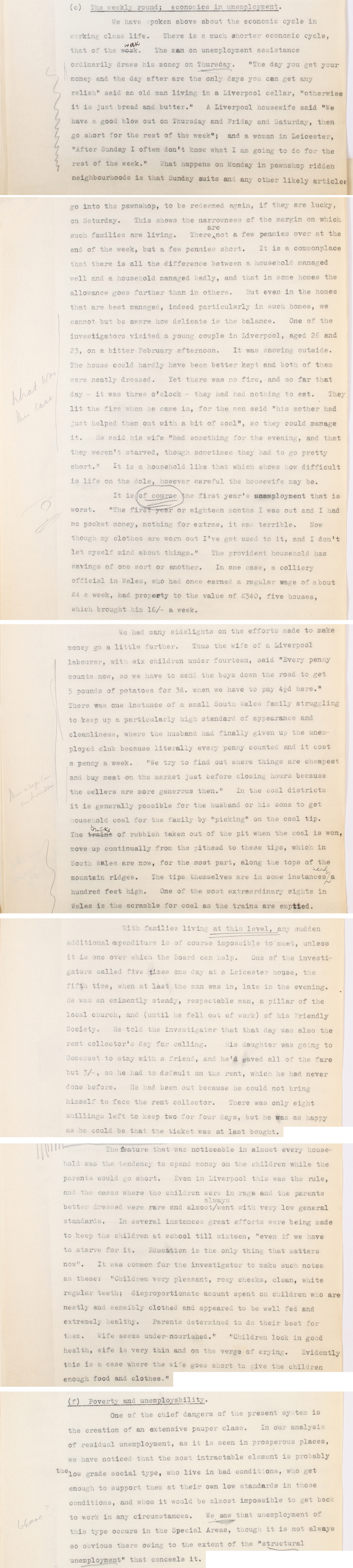 Extracts from the Pilgrim Trust Unemployment Enquiry, 1936-1938 (AST 7/255)