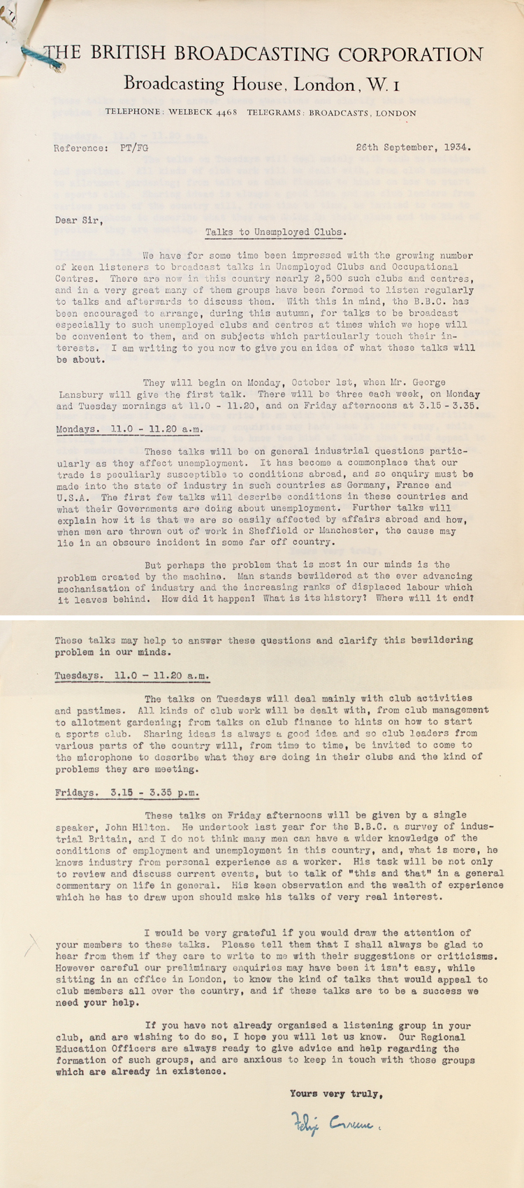 Letter from the BBC sent to the secretaries of all Unemployed Clubs and Occupational Centres in September 1934 (AST 7/92)