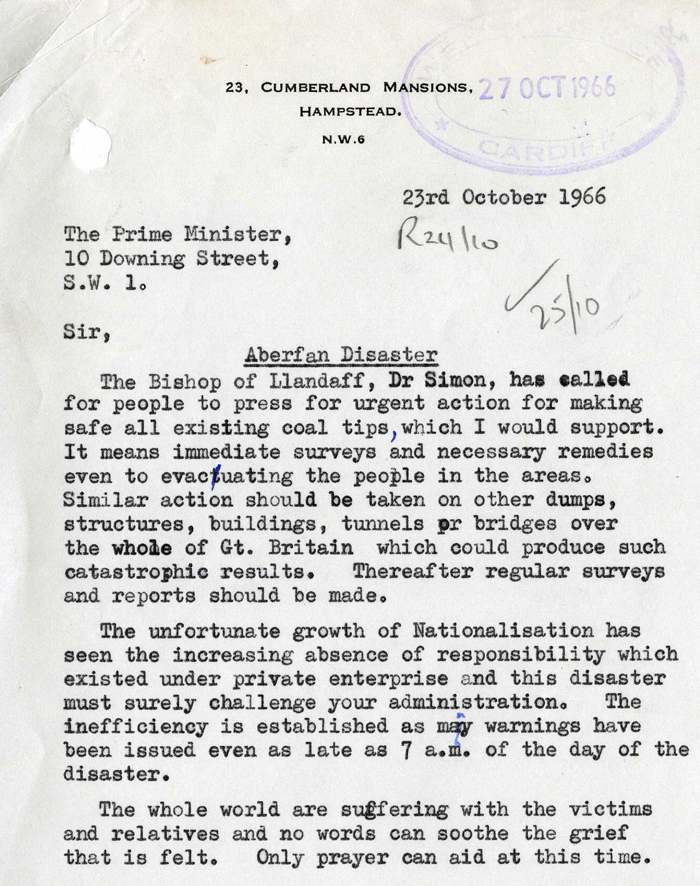 Letter to Prime Minister Harold Wilson from a member of the public after the Aberfan disaster, October 1966 (BD 11/3781)
