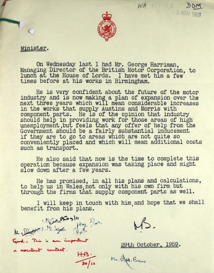Note to the Minister for Welsh Affairs Henry Brooke from Lord Brecon, Minister of State for Welsh Affairs, 29th October 1959 (BD 25/27)