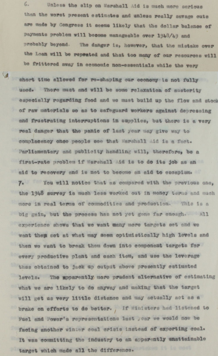 Extracts from an economic survey for 1948 sent to the Lord President, from E.M. Nicholson, 23rd December, 1947 (CAB 124/1050)