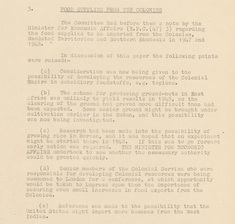 Cabinet committee notes on food supplies from the colonies, 27th October, 1947 (CAB 134/215)