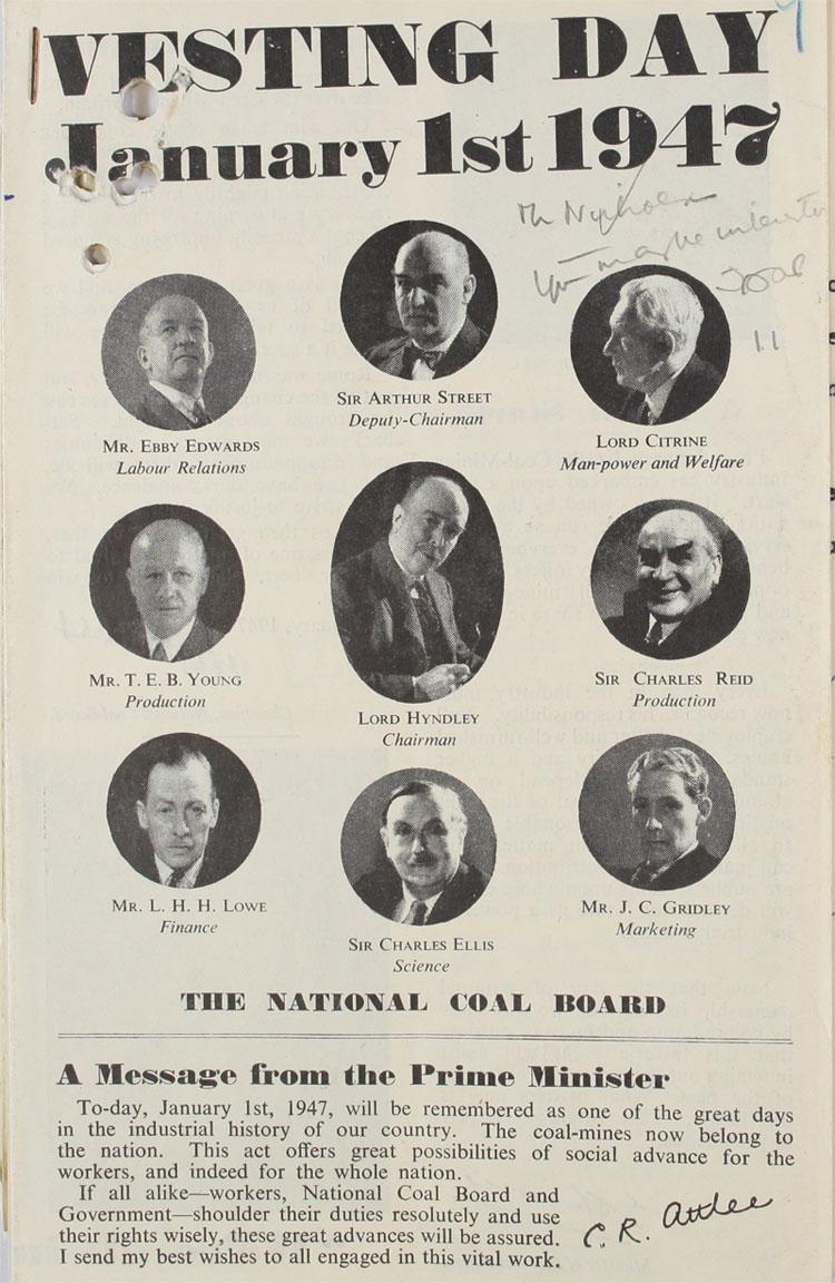 Vesting Day leaflet announcing nationalisation of coal, 1st January, 1947 (CAB 21/2207)
