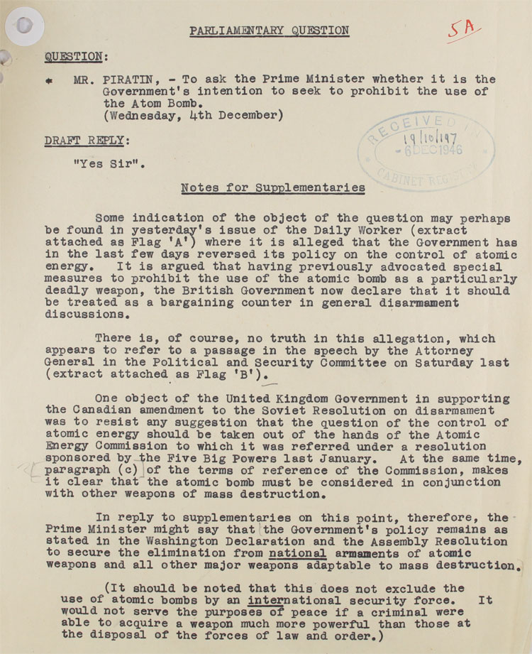Parliamentary question on the use of the H. Bomb from MP Piratin 4th December, 1946 (CAB 21/4053)