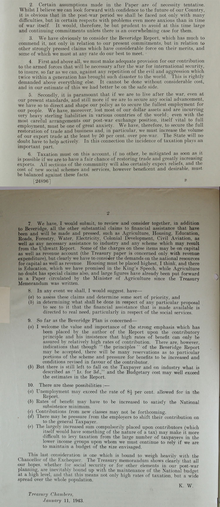 Memorandum from the Conservative Chancellor of the Exchequer, Kingsley Wood on the financial aspects of the social security plan, 11th January, 1943 (CAB 65/33)