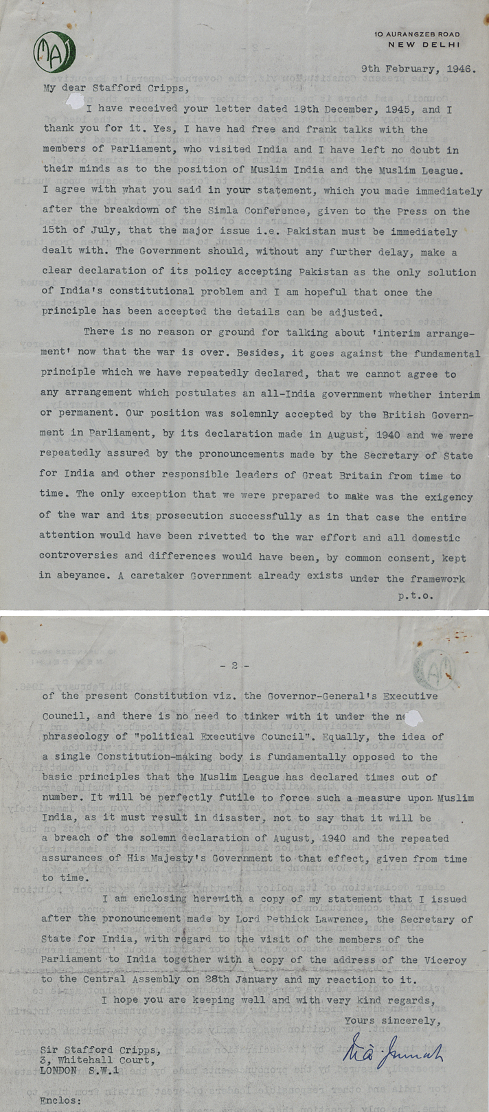 Letter from Muhammad Jinnah to Sir Stafford Cripps, 9th February 1946 (CAB 127/136)
