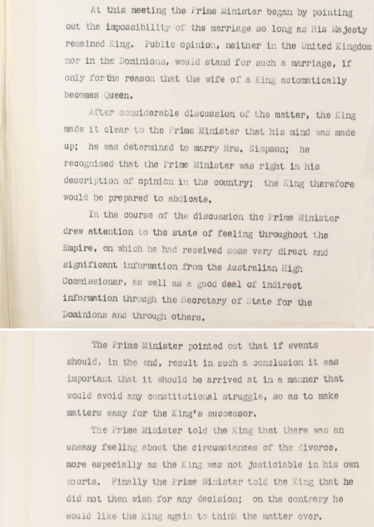 Extract from an account of events leading up to the abdication of King Edward VIII by Sir Horace Wilson, a civil servant and advisor to Prime Minister Stanley Baldwin (CAB 127/157)