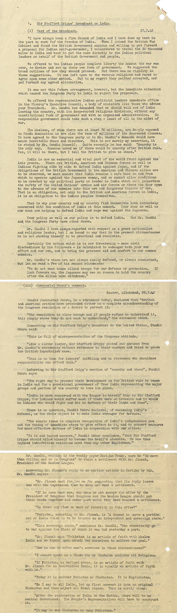 Extract from broadcast to United States by Sir Stafford Cripps' on Britain's position on India, 27 July 1942 with comments from Nehru and Gandhi (CAB 127/71)
