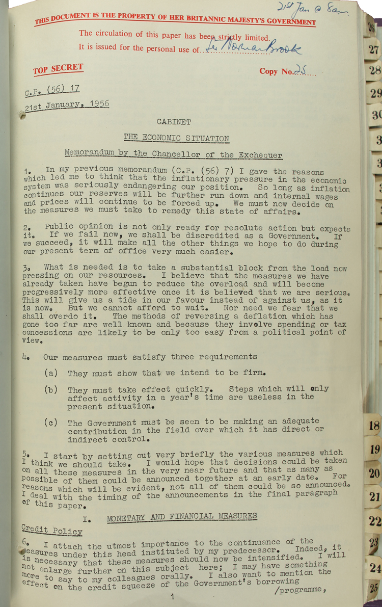 Memorandum from the Chancellor of the Exchequer Harold Macmillan, 21st January 1956 (CAB 129/79)