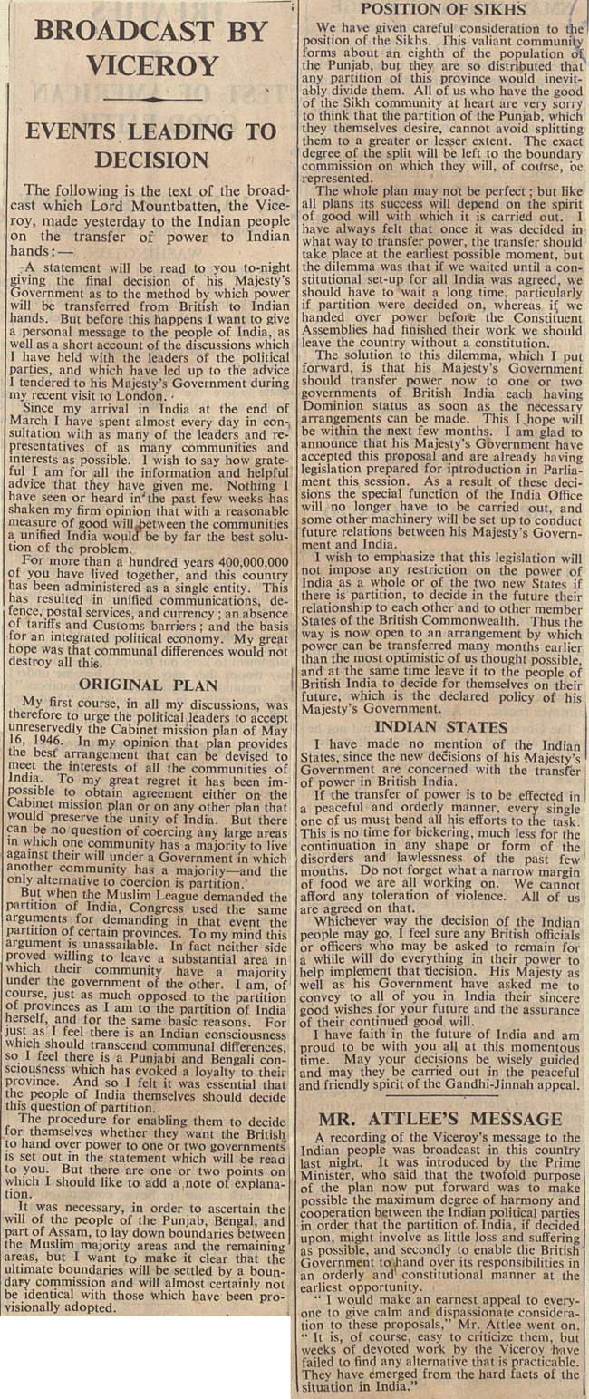 The Times reports on Lord Mountbatten's radio broadcast on partition, 4 June 1947 (CAB 21/2038)