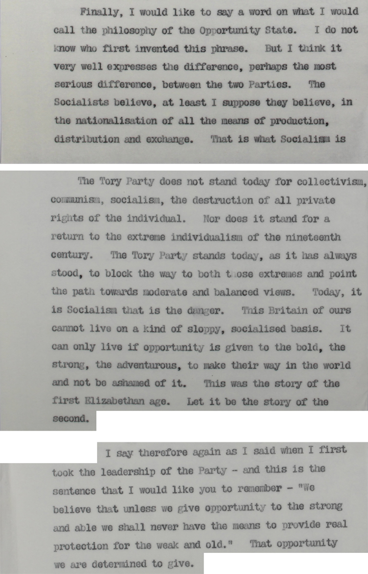 Extracts from a draft for a speech to be given by new Prime Minister Harold Macmillan at Leicester on 18th March 1957 (CAB 21/4767)
