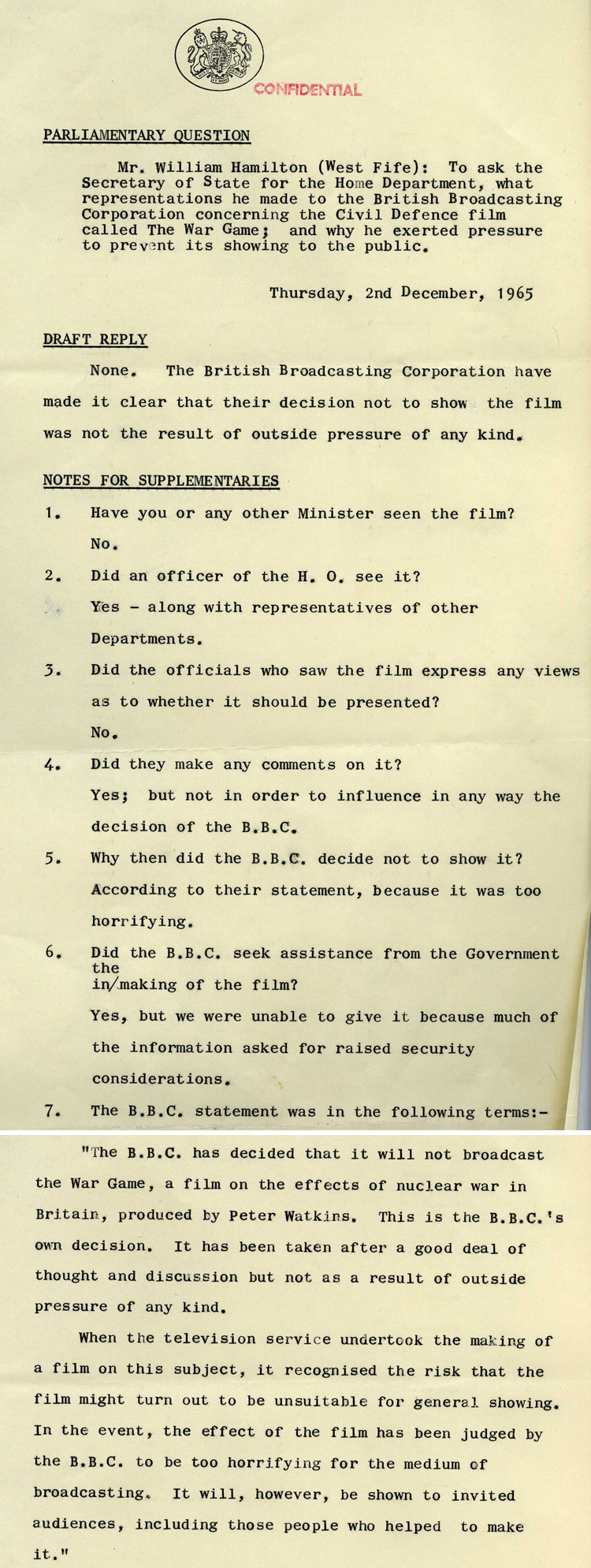 Parliamentary question asked in the House of Commons by William Hamilton MP about the TV film 'The War Game', December 1965 (CAB 21/5808)