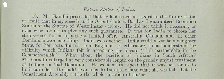 Viceroy Linlithgow's record for the British Cabinet of his conversation with Gandhi, 5th February 1940 (CAB 67/5/24)