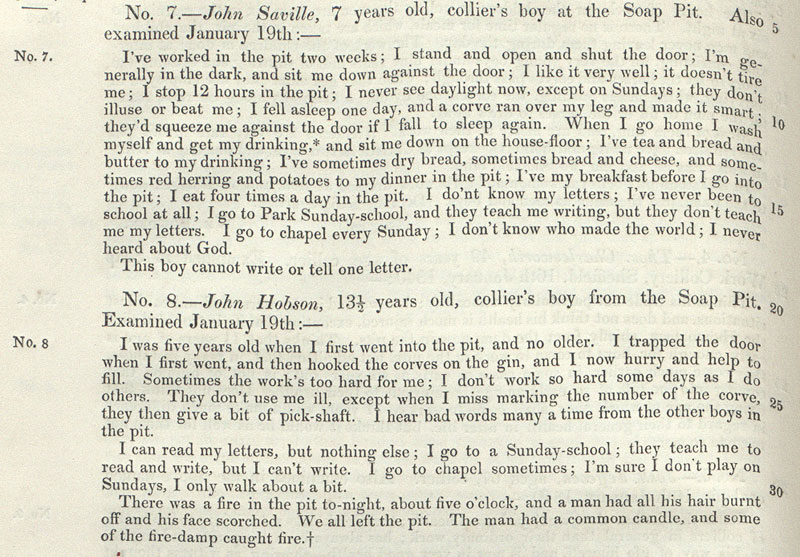 Extract from the Reports and Evidence from Sub-Commissioners published by Children's Employment Commission on the mines, 1842.