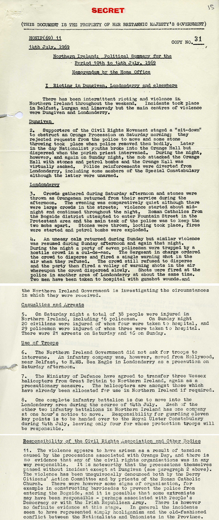 Extracts from a British government report about the political situation in Northern Ireland in July 1969 (CJ 3/52)