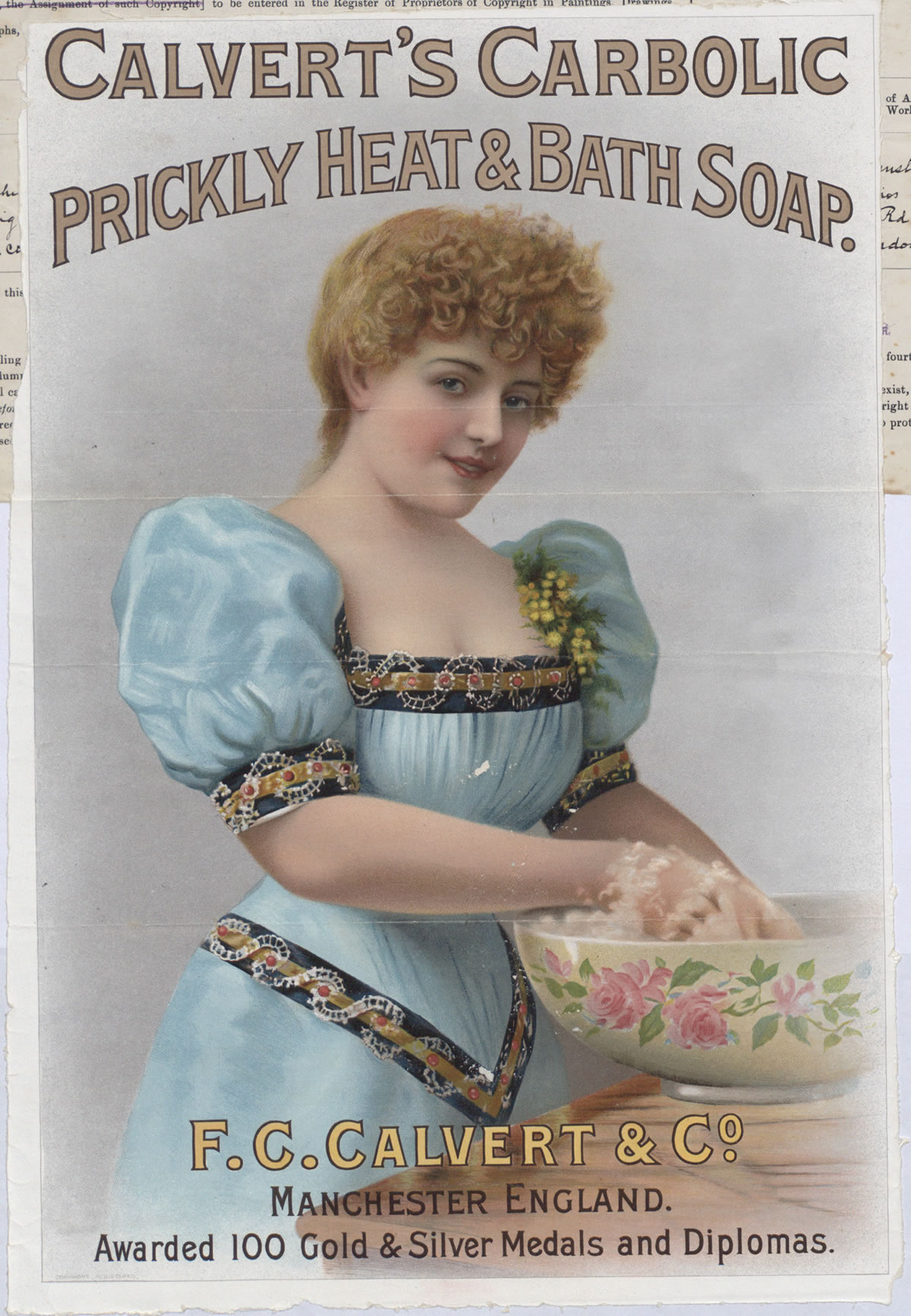 Advertisement for Calvert's carbolic soap, a mild disinfectant soap used for household cleaning, 1899 (COPY 1/146 f.634)