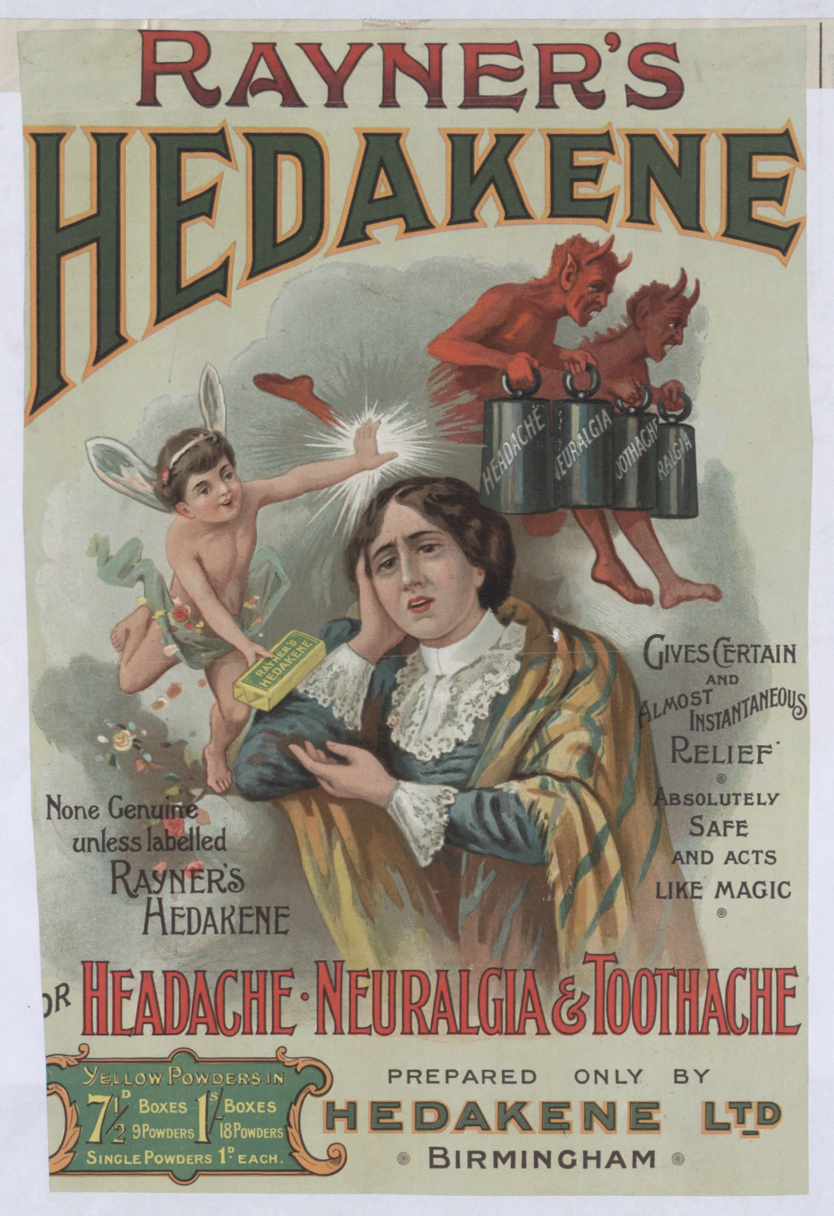 Advertisement for Rayner's Hedakene powder, 1901 (COPY 1/176 f.182)