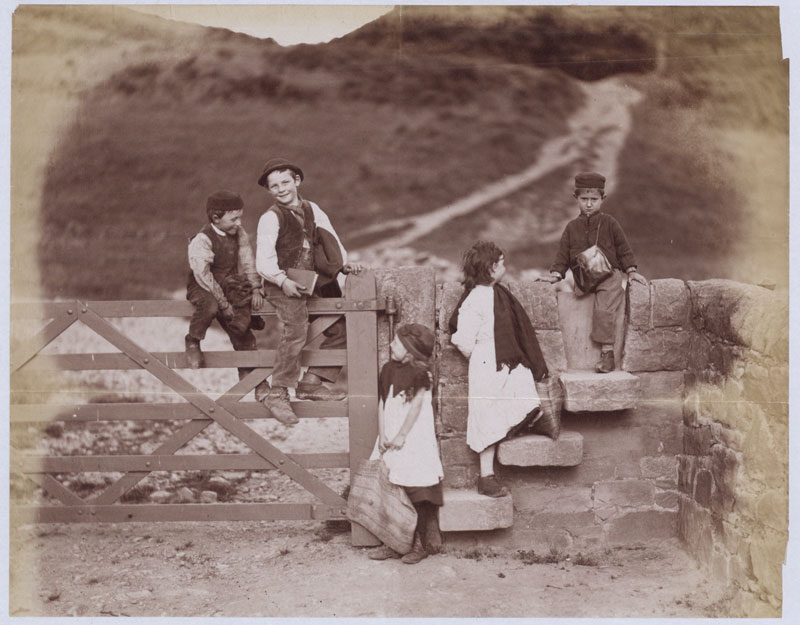 """Photograph called """"Just let loose from school"""", Lancashire, 1884 (COPY 1/391 f.187)"""