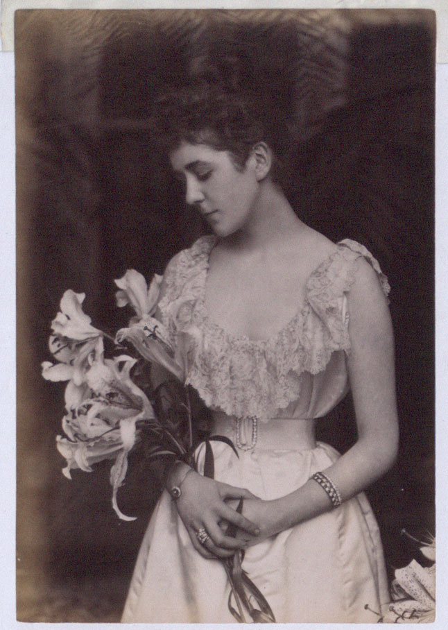 Countess Russell with lily, wearing white dress trimmed with lace, 1891 (COPY 1/405 f.201)